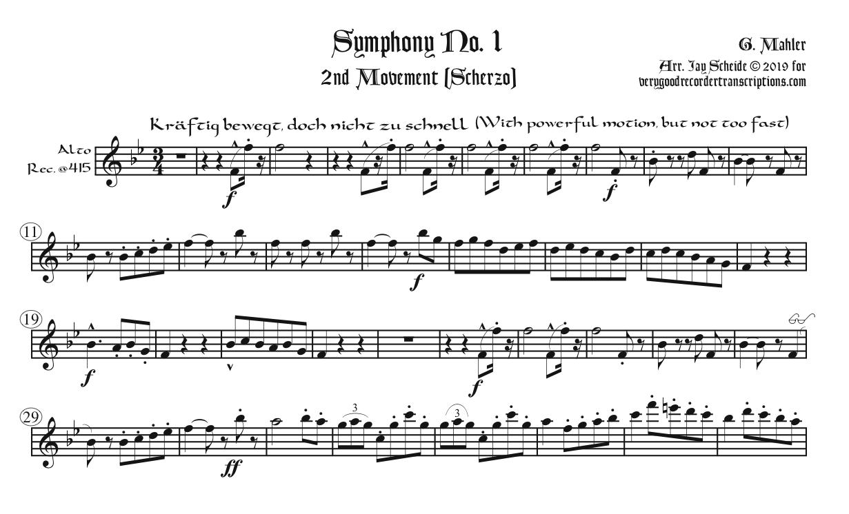 Scherzo from Symphony No. 1, for alto in old pitch alternating with alto in modern pitch, soprano in old pitch, and tenor in modern pitch