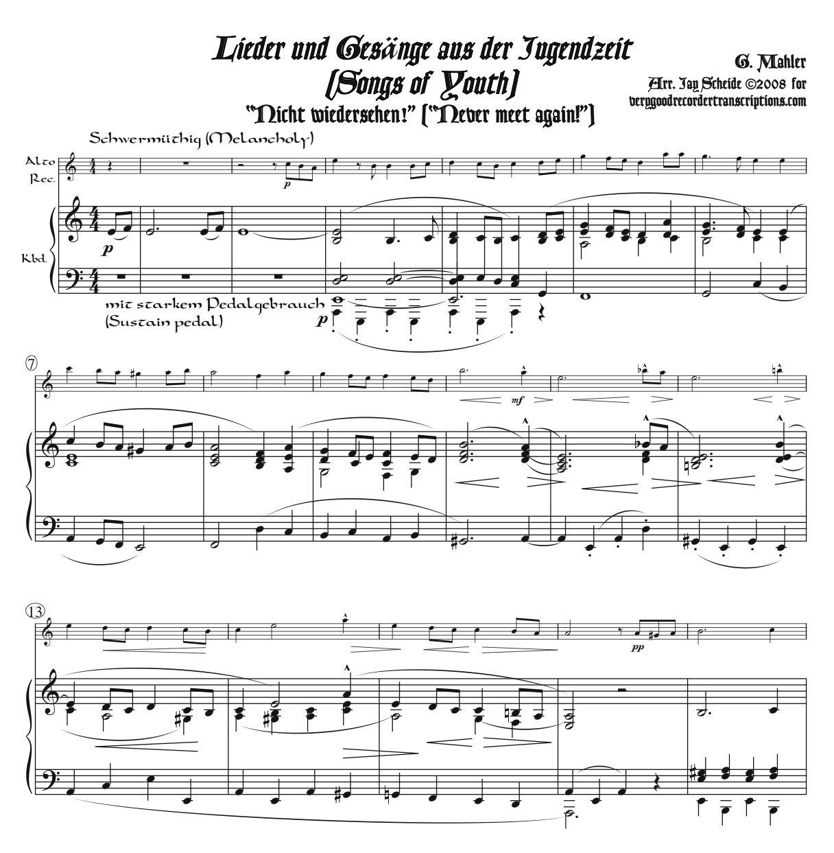 Two Songs from *Lieder und Gesänge aus der Jugendzeit*