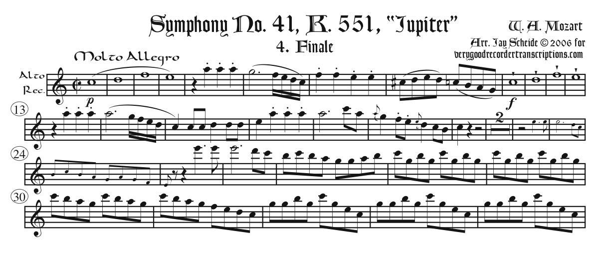 """Finale of Symphony No. 41, """"Jupiter"""", K. 551"""