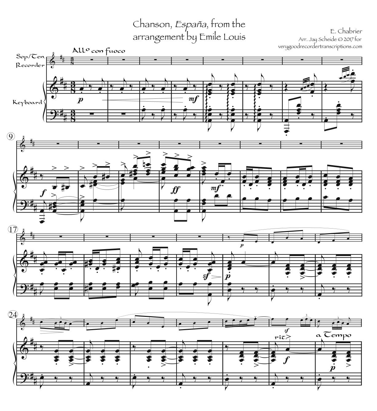 España, from the song arrangement, for soprano or tenor recorder, two versions