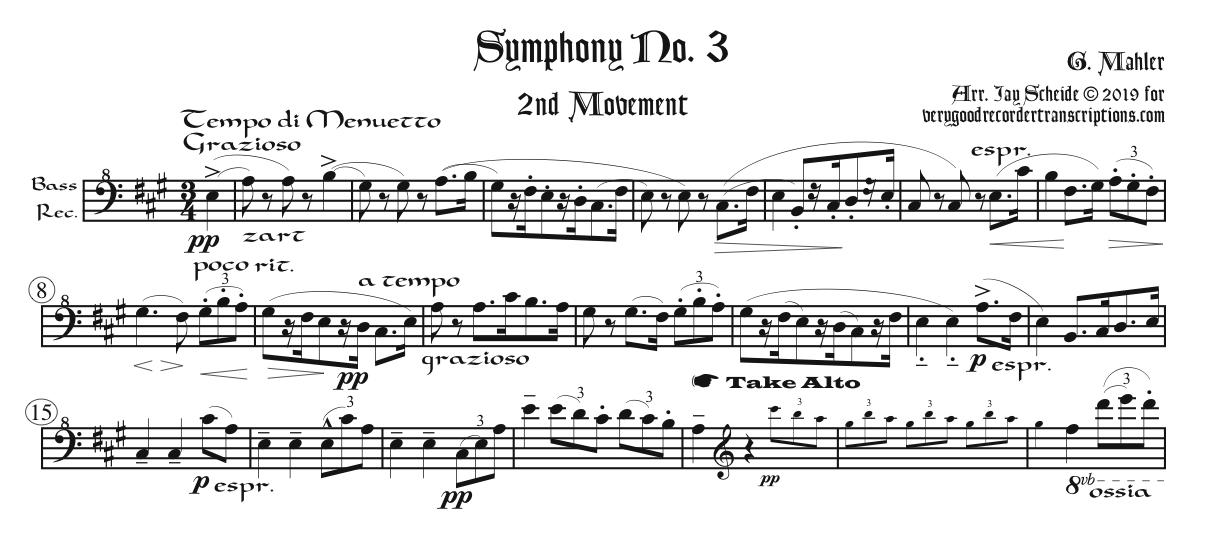 Tempo di Menuetto from Symphony No. 3. arr. for various recorders