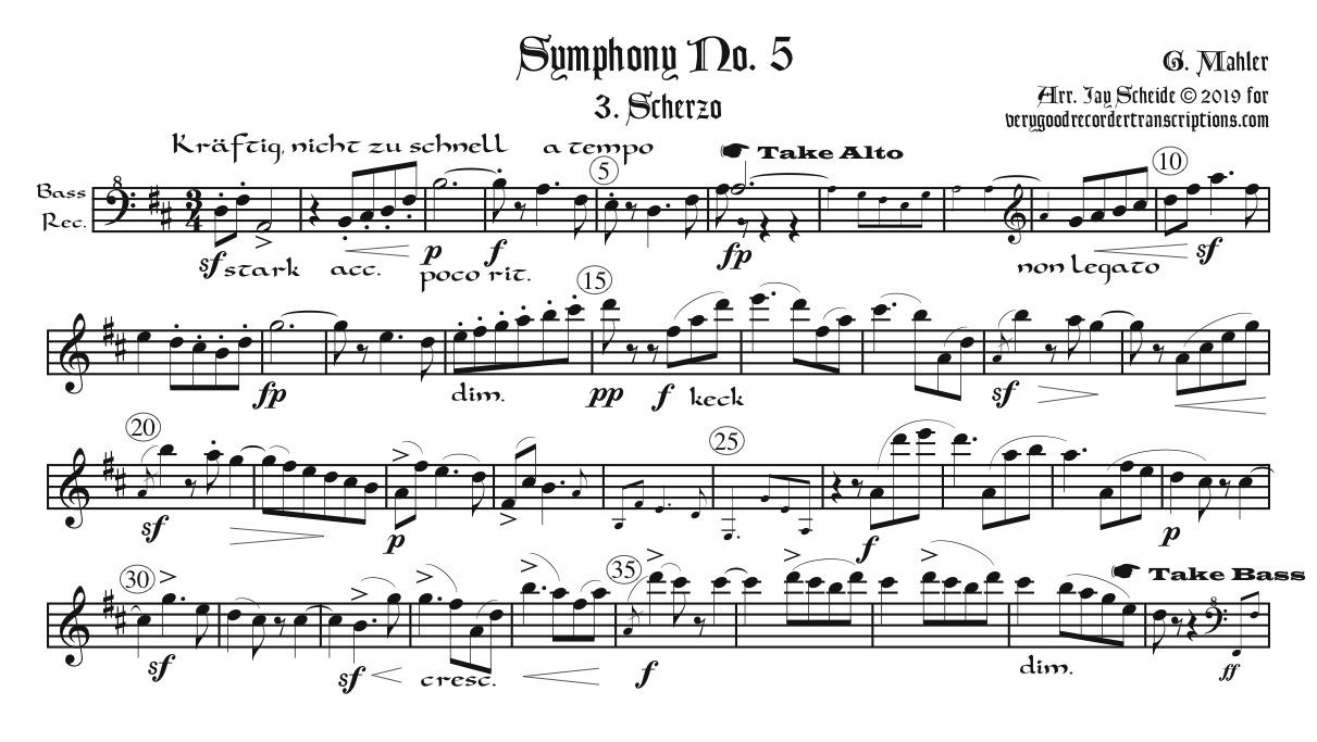 Scherzo from Symphony No. 5, arr. for one player alternating between SAT & B recorders