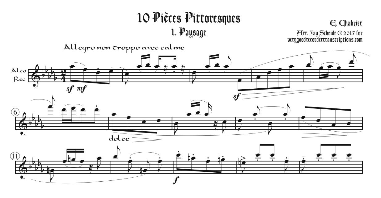 """""""Paysage,"""" No. 1 from *Pièces Pittoresques*, first section only, two different versions"""