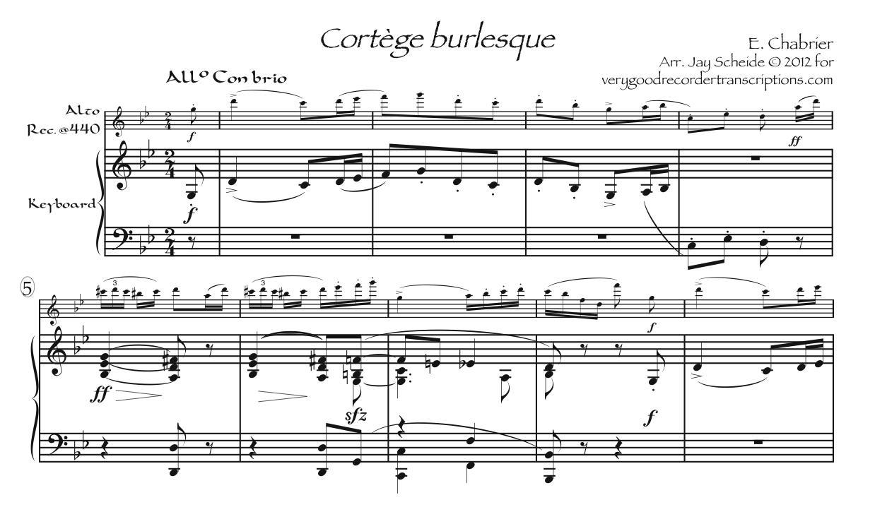Cortège burlesque, for alto recorder @440 doubling alto @415 and sopranino @440