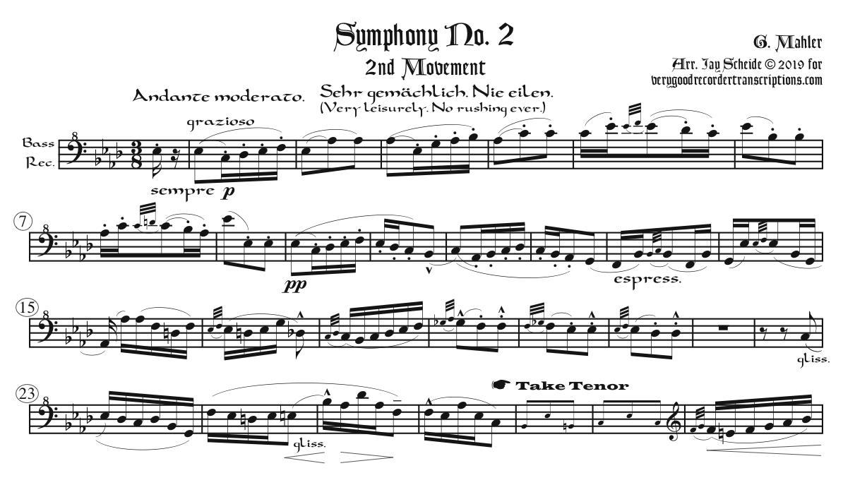 2nd Mvt. from Symphony No. 2, arr. for bass recorder doubling alto & tenor