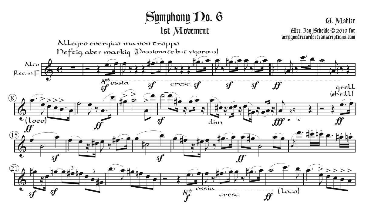1st Mvt. from Symphony No. 6, requiring various recorders