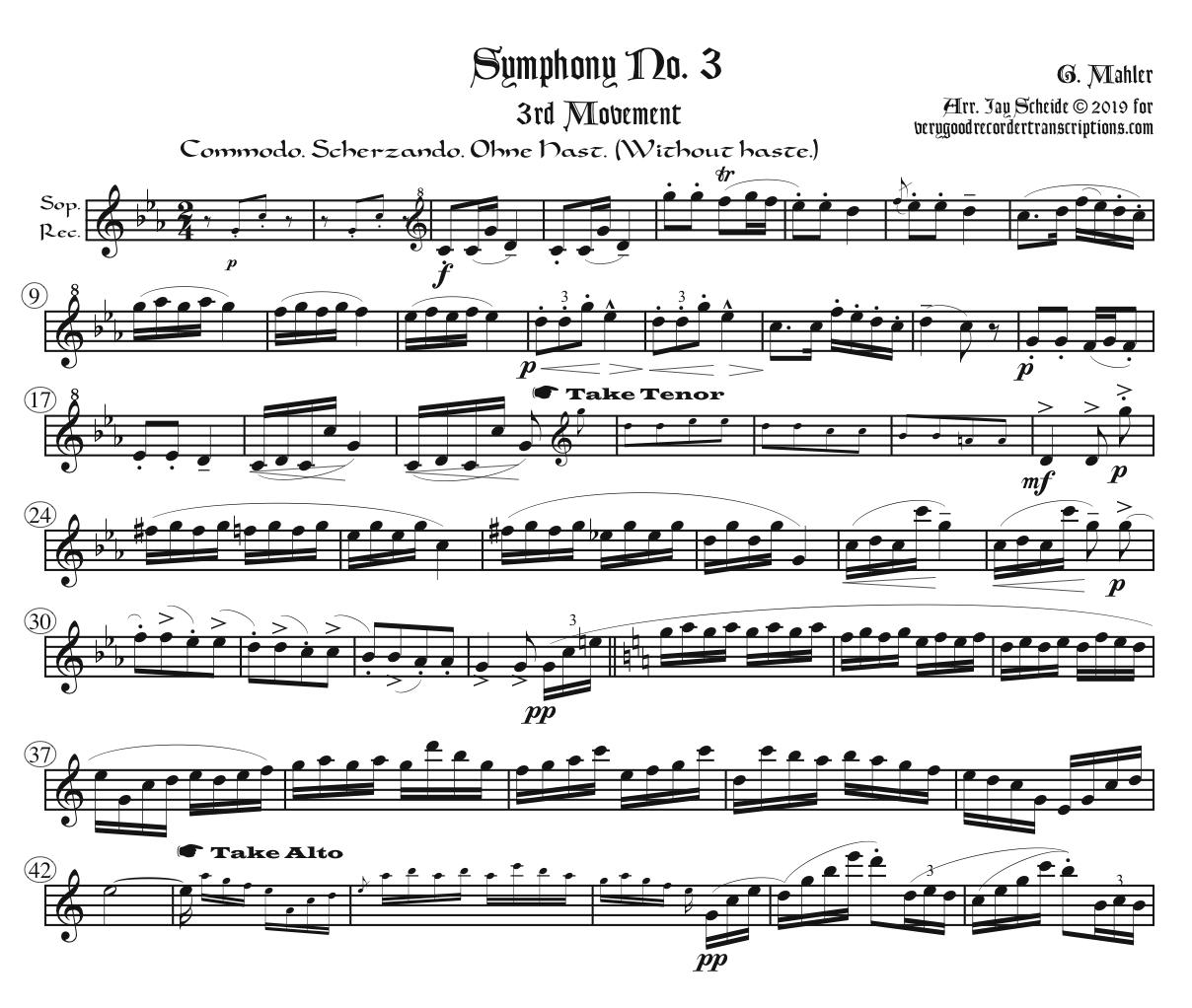 First three Mvts. from Symphony No. 3, arr. for one player alternating between Sopranino, Soprano at old & modern pitch, Alto at old & modern pitch, and in G, Tenor & Bass