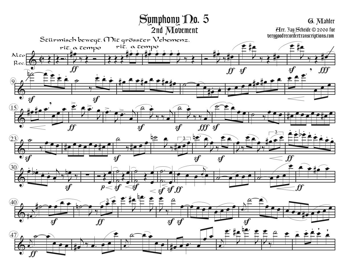 First three Mvts. from Symphony No. 5, arr. for one player alternating between Soprano, Alto, Tenor & Bass and optional Sopranino