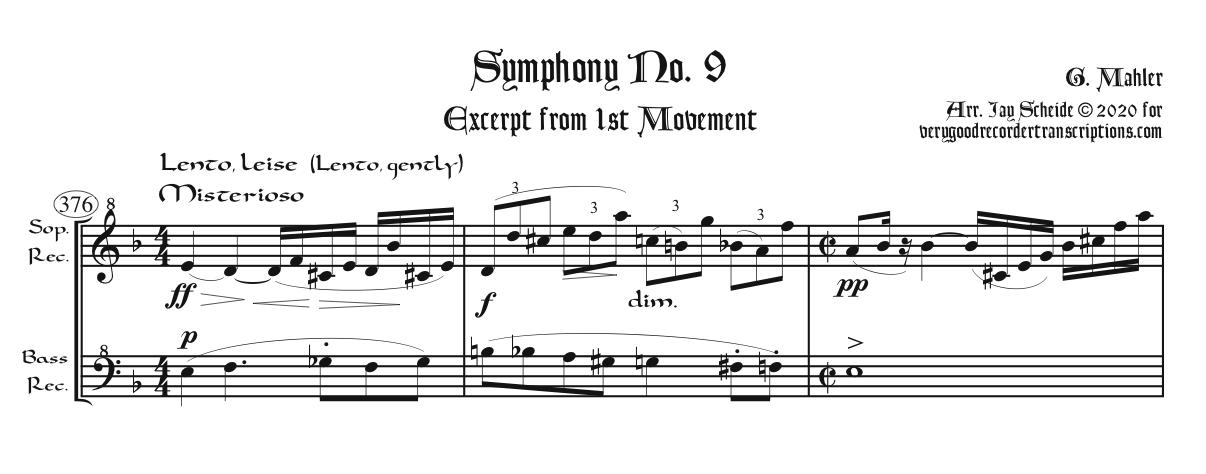 Excerpt from Symphony No. 9, 1st mvt., arr. for soprano & bass recorders