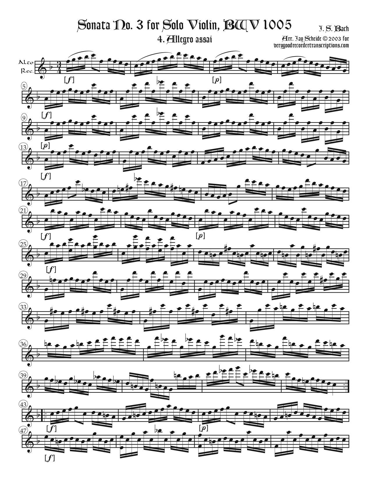 Allegro assai from Sonata No. 3, BWV 1005