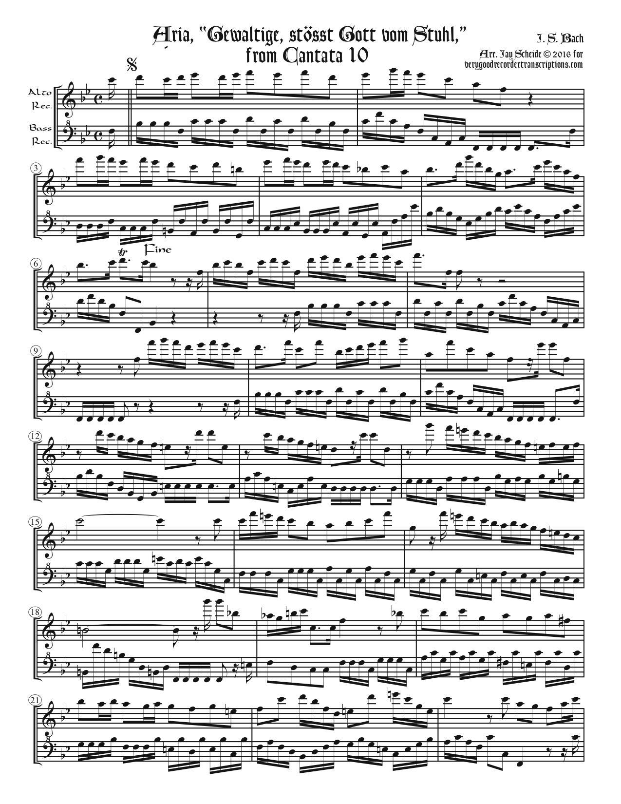 "Aria, ""Gewaltige ößt Gott vom Stuhl"", from Cantata 10, arr. for alto & bass recorders"