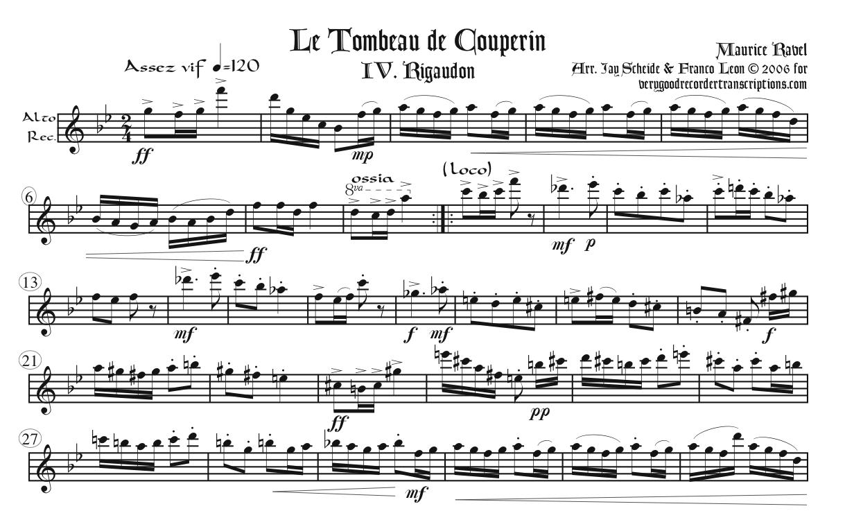 """""""Rigaudon"""" from *Le tombeau de Couperin*"""
