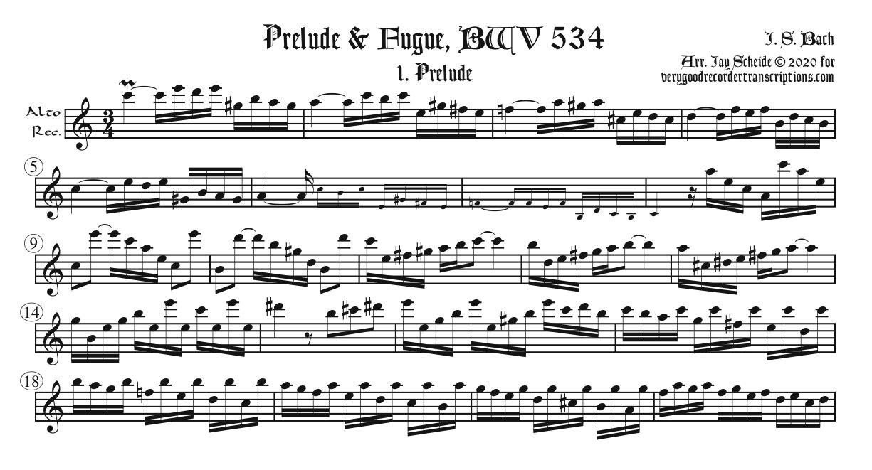 Prelude & Fugue, BWV 534