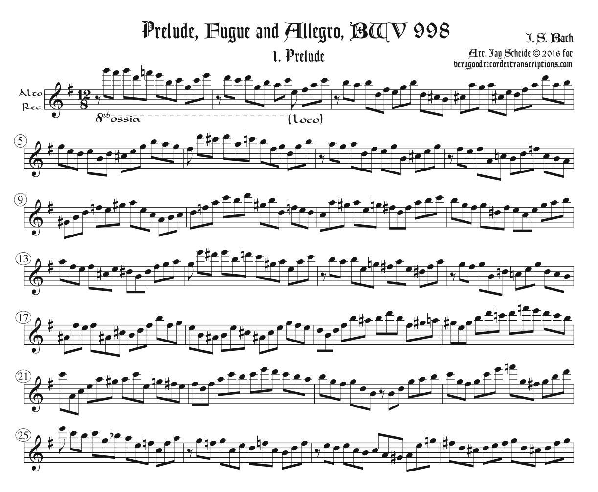 Prelude, Fugue and Allegro, BWV 998