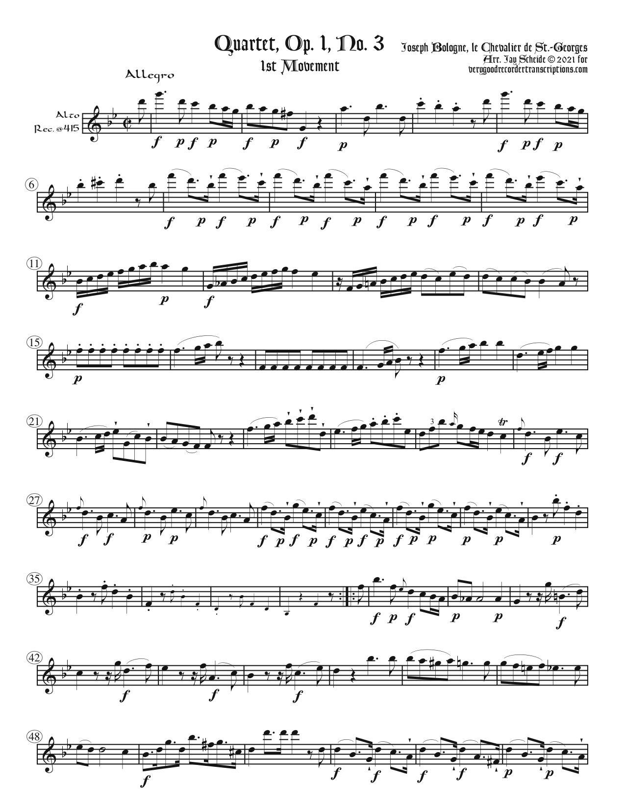 Quartet, Op. 1, No. 3